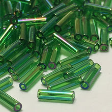 Load image into Gallery viewer, Miyuki M-BGL2-179  #2 Transparent Green AB Bugle Beads, 6 mm - 5 or 10 gm