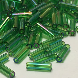 Miyuki M-BGL2-179  #2 Transparent Green AB Bugle Beads, 6 mm - 5 or 10 gm