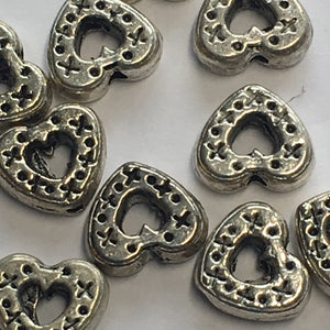 Antique Silver Dotted Heart Frame Beads, 7 x 8 x 3 mm - 6 or 10 Beads