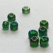 Load image into Gallery viewer, 6/0 Transparent Green AB Seed Beads, 4.5 or 5 gm