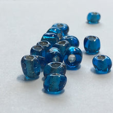 Load image into Gallery viewer, 6/0 Silver Lined Transparent Dark Aqua Blue Seed Beads, 10 gm