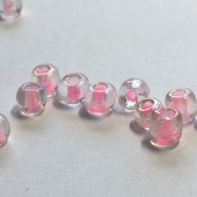 Load image into Gallery viewer, 6/0 Color Lined Transparent Crystal Pink AB Seed Beads 10 gm