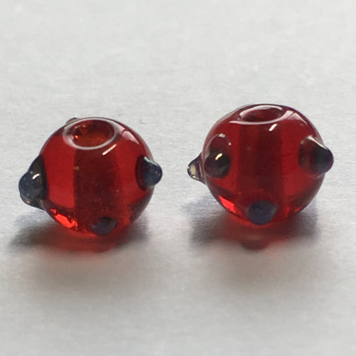 Bumpy Transparent Red Glass Lampwork Round Beads, 6 mm -  2 Beads