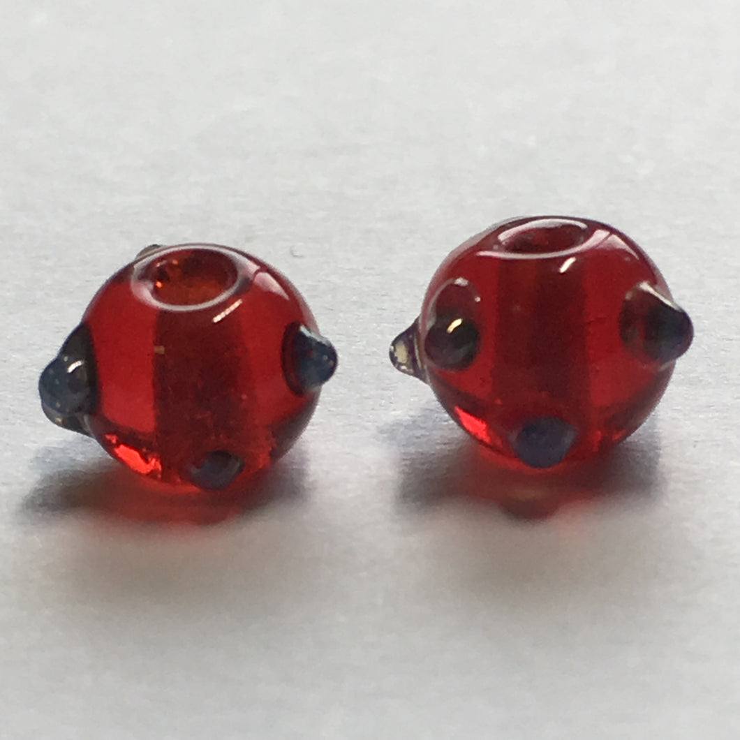 Bumpy Transparent Red Glass Lampwork Round Beads, 6 mm, 2 Beads