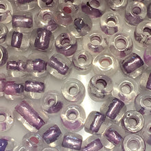 Load image into Gallery viewer, 6/0 Color Lined Transparent Crystal Amethyst AB Seed Beads, 5 gm