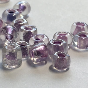 6/0 Color Lined Transparent Crystal Amethyst AB Seed Beads, 5 gm