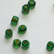 Load image into Gallery viewer, 6/0 Color Lined Gold Transparent Green/Emerald Seed Beads, 5 gm