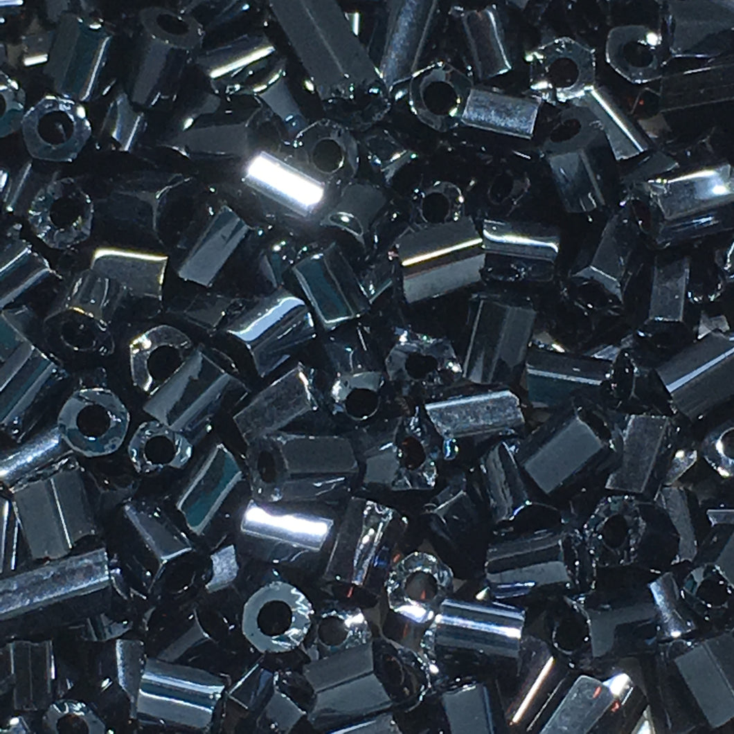 Hematite Glass Hex Bugle Beads, 2 mm, 5 gm