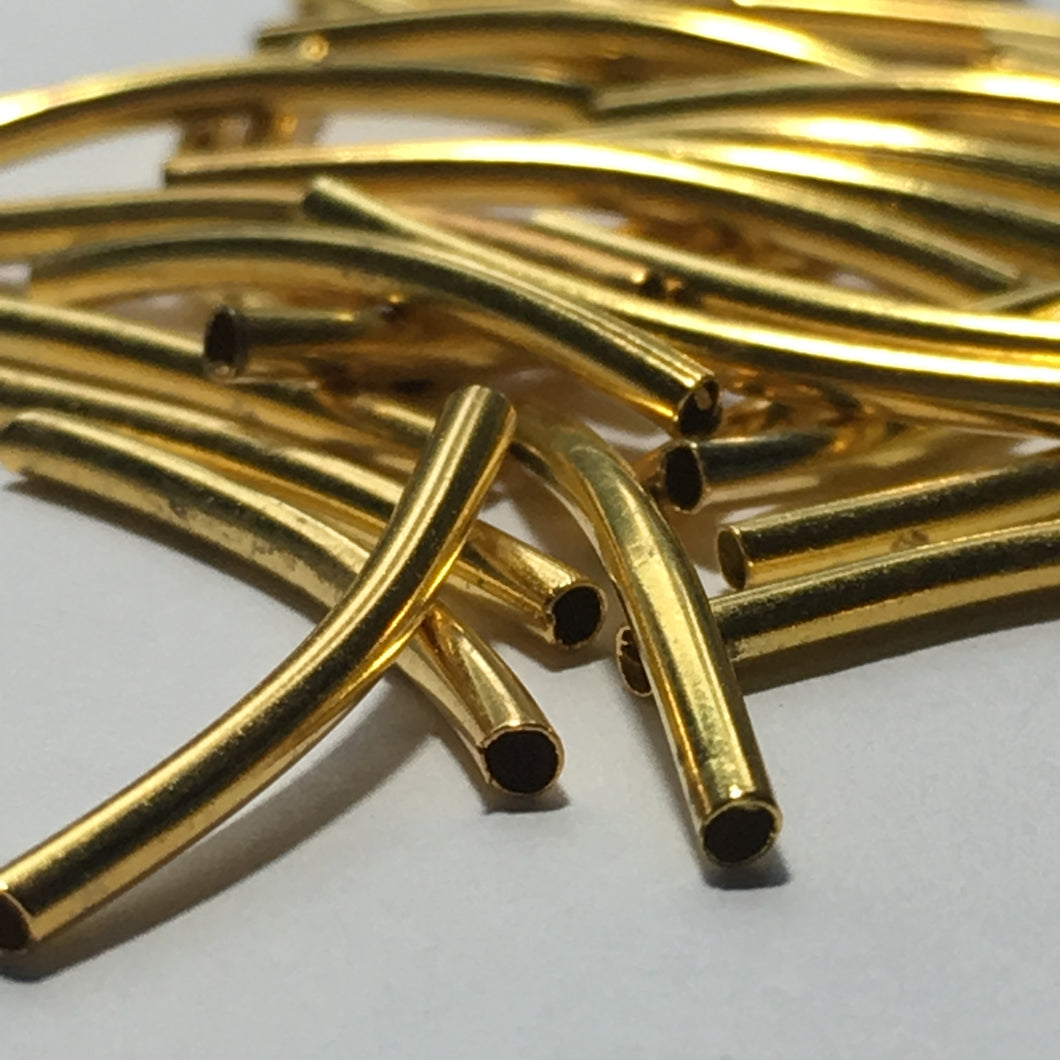 Gold Curved Bugle Beads, 20 mm  - 37 Beads