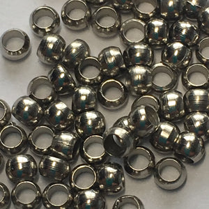 Antique Silver Large Hole Beads, 2.5 x 2 mm with a 1.2 mm Hole - Approx. 100 Beads