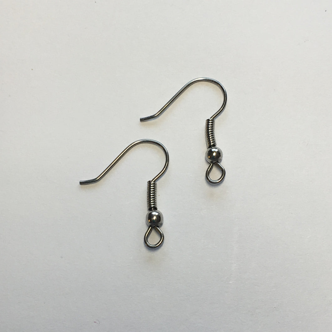 21-Gauge 17 mm Stainless Steel Hypoallergenic Fish/French Hook Ear Wires with a 6 mm coil 1 pair
