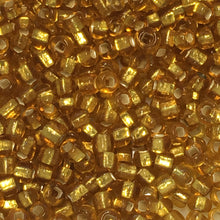 Load image into Gallery viewer, 11/0 Silver Lined Translucent Gold Seed Beads 5 gm