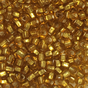 11/0 Silver Lined Translucent Gold Seed Beads - 3 or 5 gm
