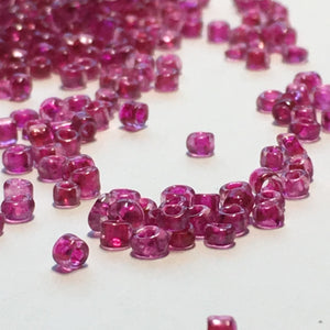 11/0 Color Lined Transparent Fuchsia Pink Seed Beads, 5 gm