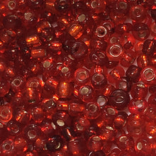 Load image into Gallery viewer, 11/0 Silver Lined and Transparent MIX Red Seed Beads, 5 gm