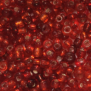 11/0 Silver Lined and Transparent MIX Red Seed Beads, 5 gm