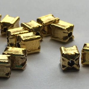 Gold Rectangle Beads, 6 x 4 mm - 13 Beads