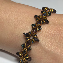 "Load image into Gallery viewer, Bead Kit to Make ""Oh, My Stars! Bracelet"" Dark Amethyst / Gold Brass with Free E-Tutorial starting at $9.99"