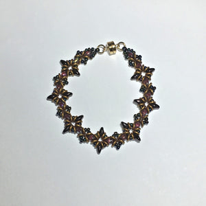 "Bead Kit to Make ""Oh, My Stars! Bracelet"" Dark Amethyst / Gold Brass with Free E-Tutorial starting at $9.99"