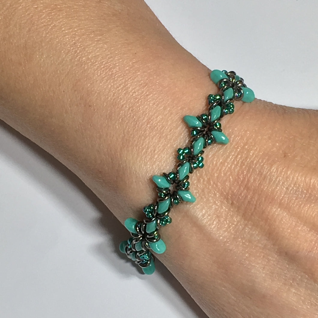 Oh, My Stars Bracelet Turquoise Green/ Emerald / Jet PDF Tutorial/Instructions