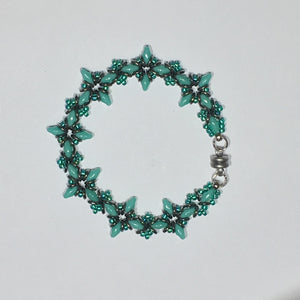 "Bead Kit to Make ""Oh, My Stars! Bracelet"" Turquoise / Emerald / Jet Full Chrome with Free E-Tutorial starting at $9.99"