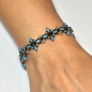 "Bead Kit to Make ""Oh, My Stars! Bracelet"" Blue Luster/ Silver / Jet Full Chrome with Free E-Tutorial starting at $9.99"