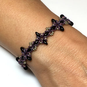 Oh, My Stars Bracelet Jet Black / Pewter / Purple PDF Tutorial/Instructions