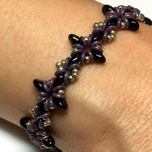 Load image into Gallery viewer, Oh, My Stars Bracelet Jet Black / Pewter / Purple PDF Tutorial/Instructions