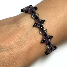 "Load image into Gallery viewer, Bead Kit to Make ""Oh, My Stars! Bracelet""  Jet Black / Pewter / Purple with Free E-Tutorial starting at $9.99"