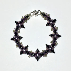 "Bead Kit to Make ""Oh, My Stars! Bracelet""  Jet Black / Pewter / Purple with Free E-Tutorial starting at $9.99"