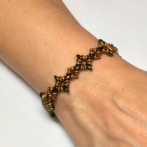 "Bead Kit to Make ""Oh, My Stars! Bracelet""  Jet Red Luster / Bronze / Gold Brass with Free E-Tutorial starting at $9.99"