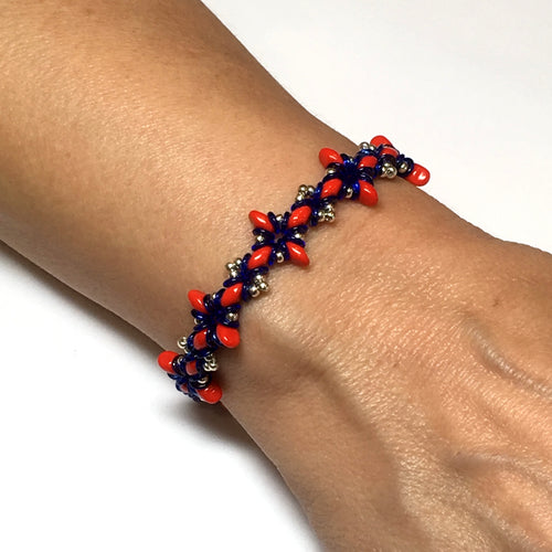 Oh, My Stars Bracelet Red / Blue / Silver PDF Tutorial/Instructions