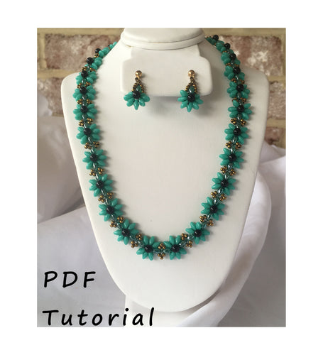 Pretty Posy Necklace and Earring Set PDF Tutorial/Pattern/Instructions