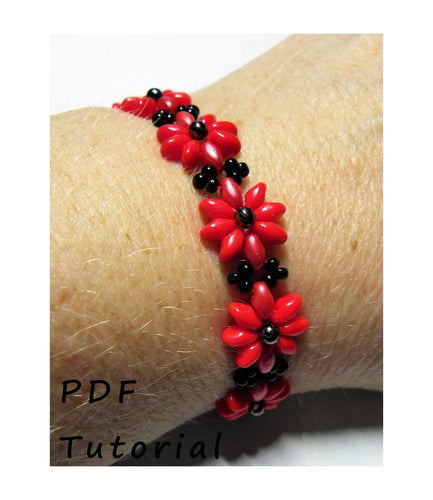 Pretty Posy Bracelet PDF Tutorial/Pattern/Instructions