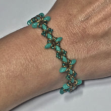 Load image into Gallery viewer, Oh, My Stars Bracelet Turquoise Green/ Emerald / Bronze PDF Tutorial/Instructions