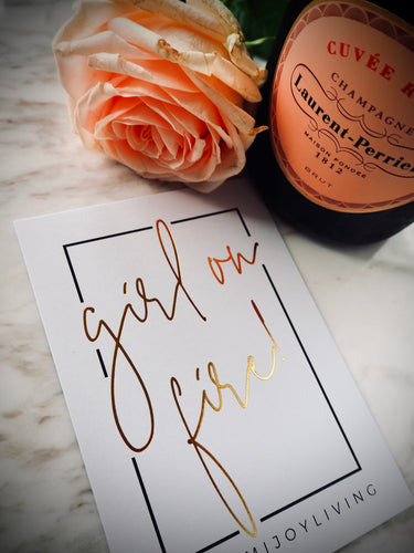 NJ Living Girl on Fire Gold Foil Gift Card