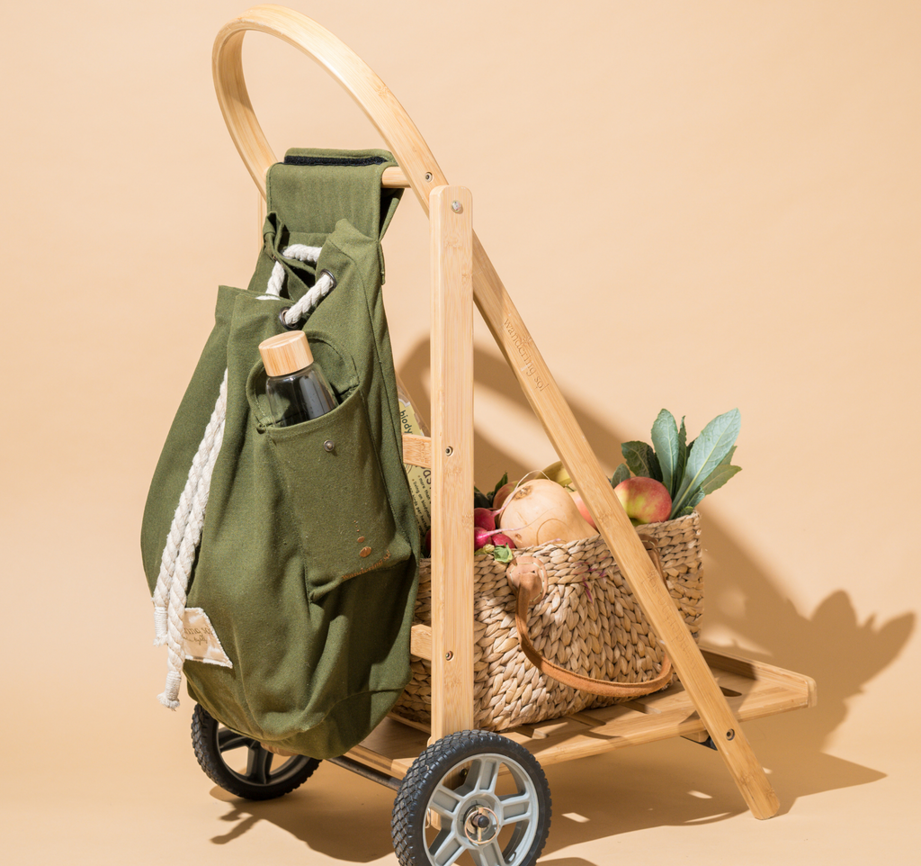 THE WANDERER Shopping Trolley- Frame, Recycled Canvas Bag & Recycled Cardboard Box