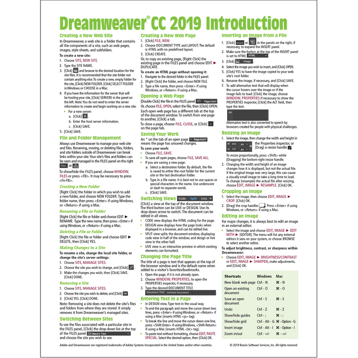 Dreamweaver CC 2019 Introduction Quick Reference