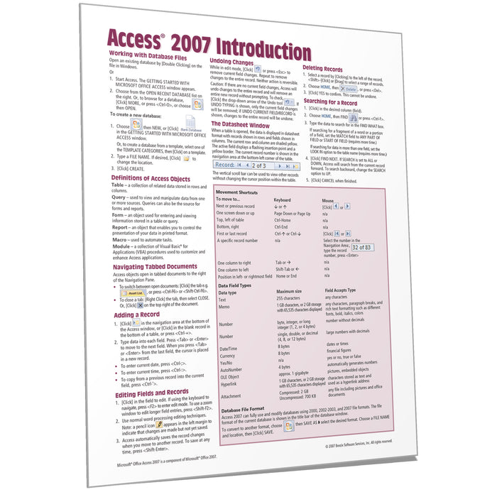 Access 2007 Introduction Quick Reference