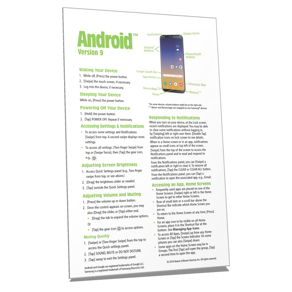 Android 9 Quick Reference Guide