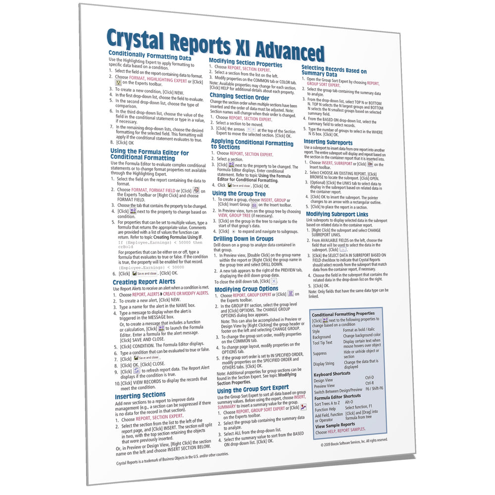 Crystal Reports XI Advanced Quick Reference