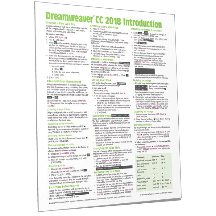 Dreamweaver CC 2018 Introduction Quick Reference