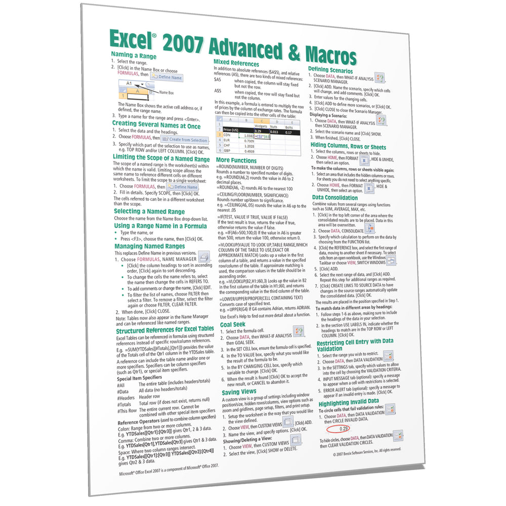 Excel 2007 Advanced & Macros Quick Reference