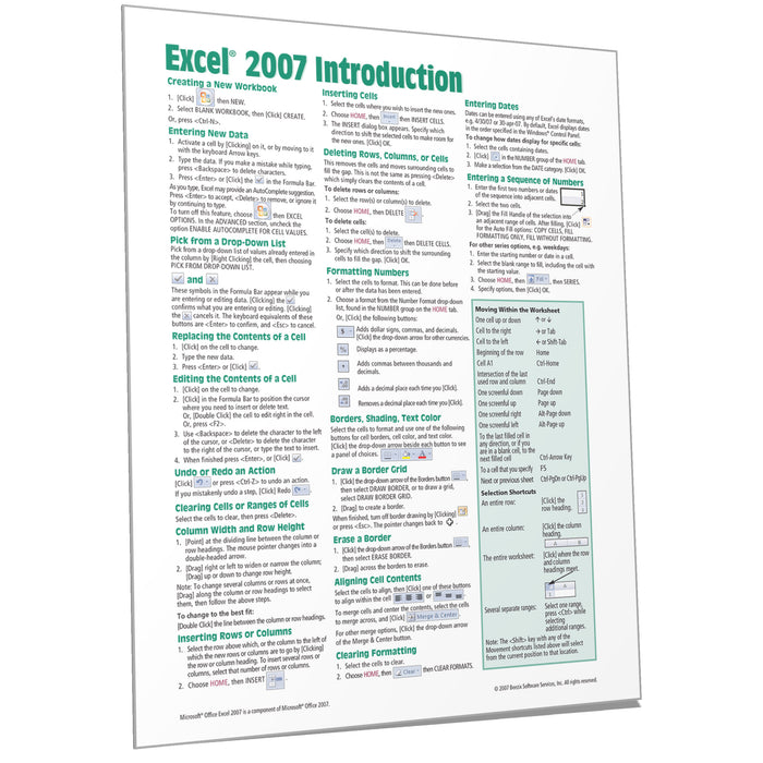 Excel 2007 Introduction Quick Reference