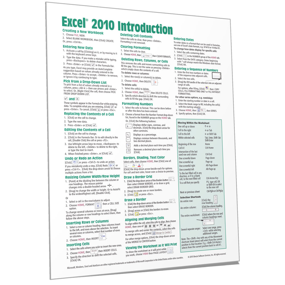 Excel 2010 Introduction Quick Reference