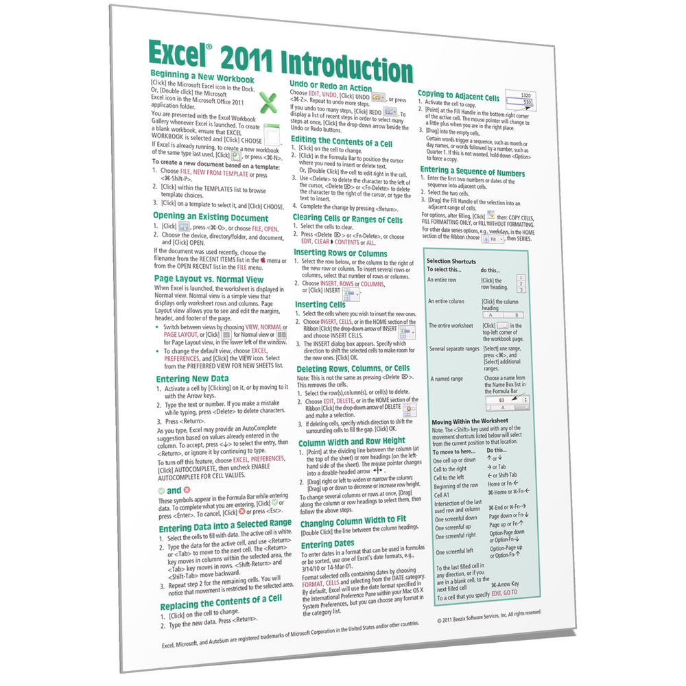 Excel 2011 for Mac Introduction Quick Reference