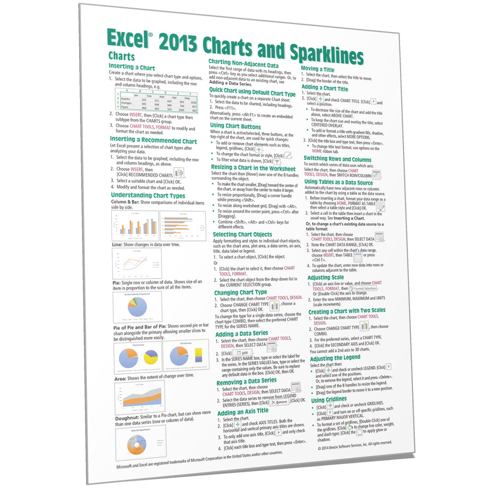 Excel 2013 Charts & Sparklines Quick Reference