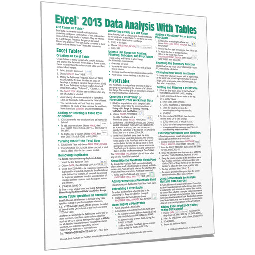 Excel 2013 Data Analysis with Tables Quick Reference