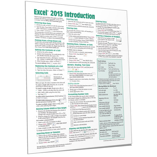 Excel 2013 Introduction Quick Reference