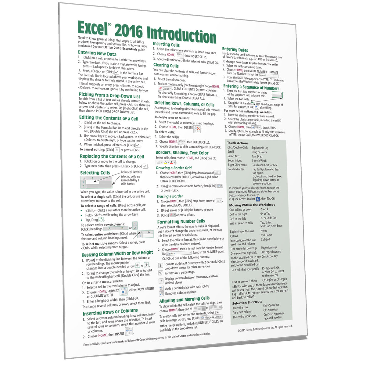 Excel 2016 Quick Reference, Training Guide, Cheat Sheet